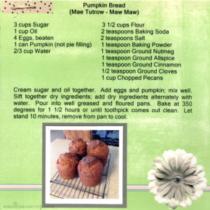 Digital scrapbook page with Pumpkin Bread Recipe - Scrapbooking Family Traditions