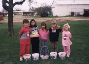 Little girls posing with their Easter baskets