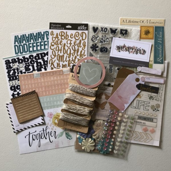 Scrapbook embellishments included in my June Counterfeit Kit Challenge