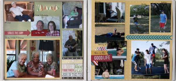 Two-page scrapbook layout with multiple pictures