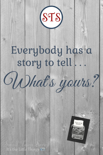 "Everybody has a ""Do You Remember"" story graphic, wood background with round STS logo, typewriter graphic"