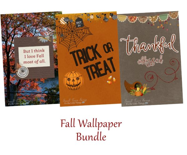 Fall Freebies Wallpaper Bundle preview; includes I Love Fall Most of All with autumn tree background, Trick or Treat Halloween with pumpkin & candy corn & Thankful #Blessed with cornucopia