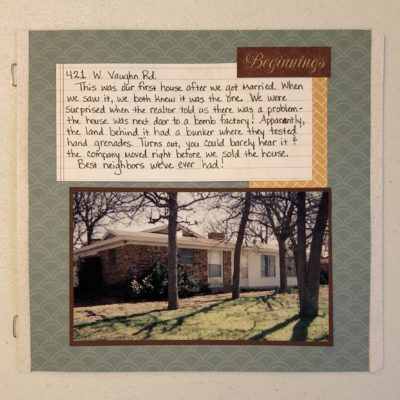 8x8 Scrapbook layout of our first home; blue patterned paper background with accents of golden yellow & maroon with a journaling box