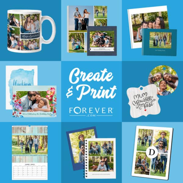 Collage of available FOREVER photo gifts and printables