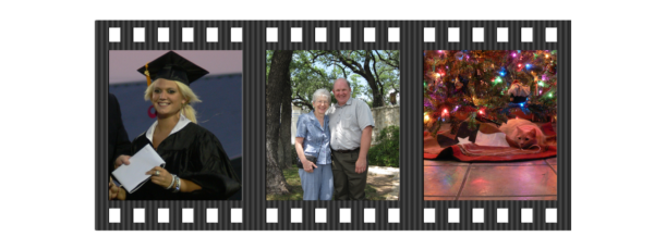 Film Strip with photos of a graduation, family & Christmas; Find Your Photos