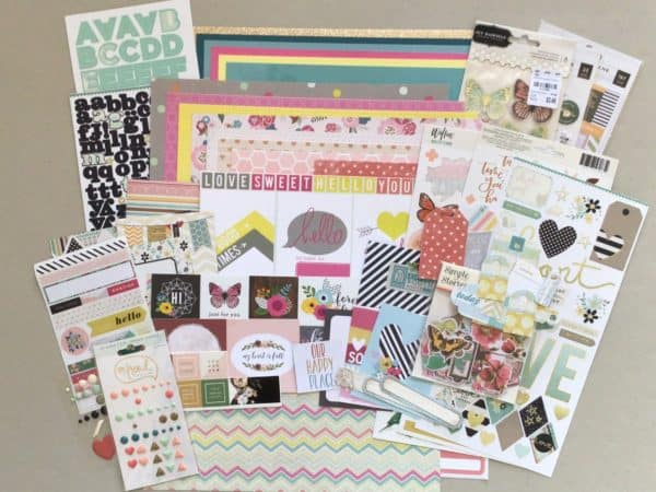 Scrapbook supplies; stickers, patterned paper, cardstock, die cuts, journal cards, enamel dots - Counterfeit Kit October, 2021