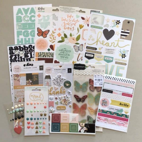 Scrapbook supplies; alphabet stickers, image stickers, washi tape strips, enamel dots, puffy stickers - Counterfeit Kit for October, 2021